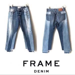 FRAME LE MIX Button fly High-rise raw hem jeans